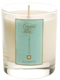 Almond Scented Candle Campos de Ibiza. A natural wax candle scented with essence of Almond. Presented in a luxurious glass candleholder, diffusing a pleasant and long-lasting scent throughout your home.   Cotton wick. Campos de Ibiza candles contribute to create a pleasant and cosy atmosphere wherever you are. Their delicate scent brings feelings of optimism and well-being, stimulate relaxation and are an invitation to calm tranquillity. €39.95 #mediterranean #spanish #scents