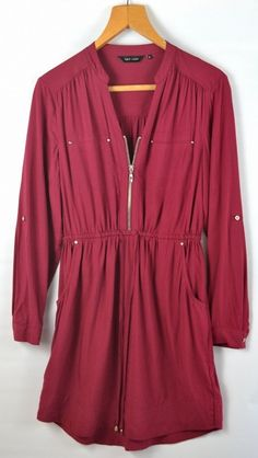 Burgundy Zip Front Casual Dress Uk 12 #fashion #dress