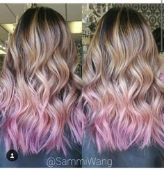 Caramal blonde ombre with pink dipdye