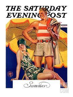 """Summertime, 1927,"" Saturday Evening Post Cover, August 27, 1927 Giclee Print by Joseph Christian Leyendecker at Art.com"