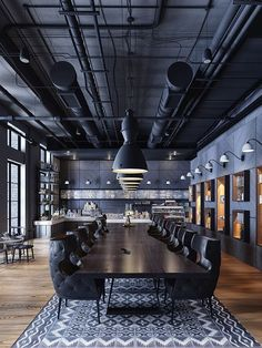 Awesome Cafe Design Interior Modern Decor Ideas - awesome cafe decor des Awesome Cafe Design Interior Modern Decor Ideas - awesome cafe decor design ideas 5 ways to bring the industrial look into Restaurant Interior Design, Design Hotel, Office Interior Design, Office Interiors, Industrial Restaurant Design, Industrial Design Homes, Cafe Interiors, Restaurant Lighting, Restaurant Interiors