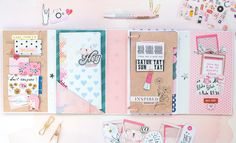 """Organize your favorite supplies with a fun DIY journal featuring the """"All Heart"""" collection from Crate Paper. Scrapbook Journal, Mini Scrapbook Albums, My Scrapbook, Mini Albums, Scrapbooking, Crate Paper, Studio Calico, Candy Crafts, Paper Crafts"""