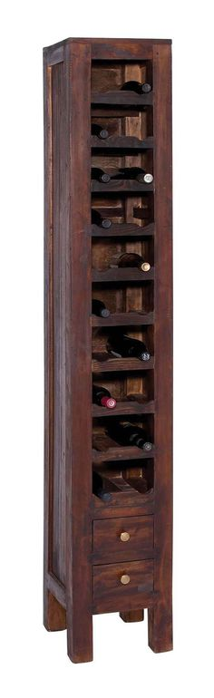 Stately Wood Mahogany Bottle Rack with Two Pullout Drawers at the Base