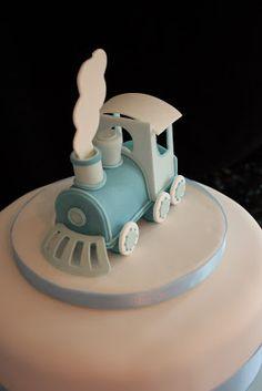 Vanilla: Christening cake with train topper Baby Boy Christening Cake, Festive Bread, Cakes For Boys, Boy Cakes, 1st Birthday Cakes, Fondant Tutorial, Cute Cakes, Baby Shower Cakes, Amazing Cakes