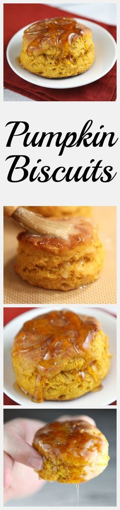 Easy Homemade Pumpkin Biscuits recipe served warm and drizzled with honey!