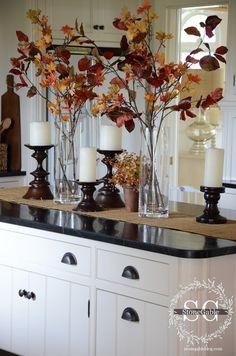 ALL ABOUT THE DETAILS KITCHEN HOME TOUR Kitchen Island Vignette, Kitchen Island Centerpiece, Fall Kitchen Decor, Fall Home Decor, Autumn Home, Farmhouse Kitchen Decor, Kitchen Ideas, Kitchen Design, Country Kitchen