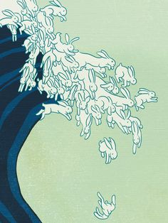"""Homage to Hokusai's """"Great Wave Off Kanegawa"""" made for cover of Giant Robot Magazine in 2003.  Uprisings by kozyndan, via Behance"""