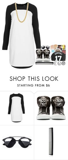 """""""Colour-Block"""" by tiffanyelinor ❤ liked on Polyvore featuring Topshop, Versace, NARS Cosmetics, T3 and colorblock"""