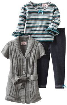 Little Lass Baby-Girls Infant 3 Piece Sweater Set with Striped Shirt: Amazon.com: Clothing