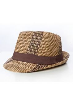 PATTERNED STRAW FEDORA