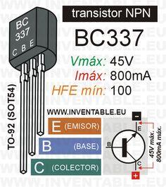 Mini-infografía con las principales características del transistor NPN BC337