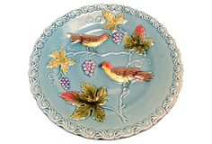 Vintage German Majolica  Plate w/ Bird Motif .  Marked and Numbered on Underside   $129