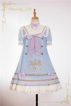 Unicolor Kitten Embroidery Sailor Style Lolita OP