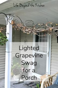 Wouldn't you love a pretty grapevine swag to wrap around your porch? Farmhouse Style, Farmhouse Decor, Grapevine Garland, Painted Chairs, Painted Tables, Painted Furniture, Honeysuckle Vine, Swag Ideas, Yard Design