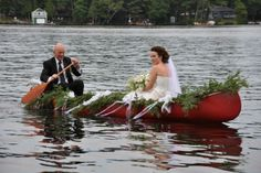 """#canoelove entry Bea and John Keeler. #wedding #redcanoe  See the newest exhibition at The Canadian Canoe Museum: """"The story of paddling and romance. Can I canoe you up the river?"""""""