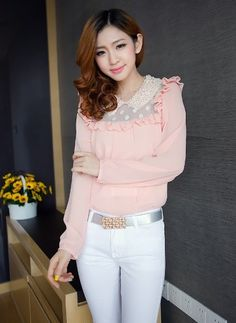 Pink-Laced Blouse http://www.pinkemeraldfashion.com/#!product/prd1/1140121701/pnktp0019---lacey-ruffled-top