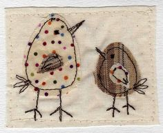 embroidered greeting card 'big bird little bird' recycled