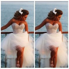 Sweetheart beading beach wedding dresses,white wedding dress,short front long…