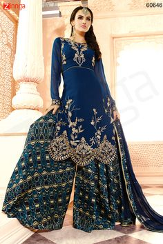 Straight Cut Style Blue Color with Resham Work Wonderful Unstitched Salwar Kameez. Message/call/WhatsApp at +91-9246261661 or Visit www.zinnga.com