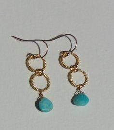 Sleeping Beauty Turquoise & Gold Dangle Earrings by trebelladallas, $38.00
