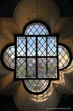 View from inside the tower at Cathédrale Notre Dame, Paris.