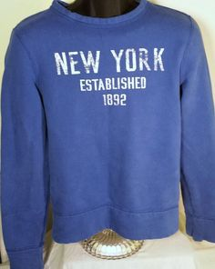Hollister Mens Size XS Blue New York Sweatshirt #Hollister #SweatshirtCrew