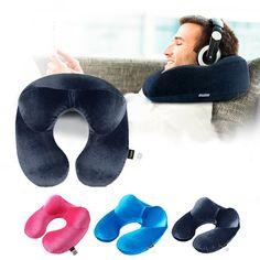 U-vorm Reizen Kussen voor Vliegtuig Opblaasbare Nekkussen Reizen Accessoires Comfortabele Kussens voor Sleep Thuis Textiel 3 Kleuren