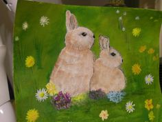 Easter Bunny!! Acrylic painting on canvas paper.
