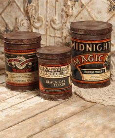Halloween Tin Canisters Bizarre Potions... Add vintage inspired charm to your shelves with Midnight Magic, Black Cat Elixir & Pure Distilled Poison Shop Now!