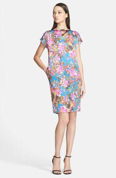 St. John Collection 'Botanica' Print Silk Charmeuse Cap Sleeve Dress