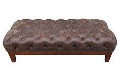 Tufted Leather Bench on OneKingsLane.com