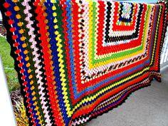 Vintage Crocheted Rainbow Color Afghan by TimelessTreasuresbyM on Etsy