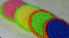 Step by step instructions on how to crochet a dish scrubber, dish scrubby using netting. Two different border to choose from, reverse single crochet or regu...