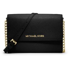 MICHAEL Michael Kors Jet Set Travel Large Phone Crossbody Bag ($170) ❤ liked on Polyvore featuring bags, handbags, shoulder bags, black, black leather crossbody, black leather shoulder bag, black cross body purse, black purse ve crossbody handbags