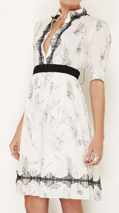 Lela Rose Cream And Black Dress