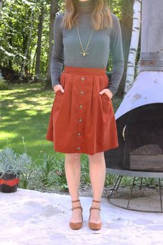 Birds of North America Toucanet skirt. This knee length corduroy skirt is the perfect fall colour! Love the burnt orange - such a 70s feel.  Available at www.victoireboutique.com