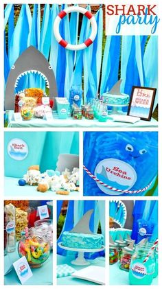 Live Every Week Like It's Shark Week - Throw a fun Shark Party with lots of ocean themed party details. Party Fiesta, 6th Birthday Parties, Birthday Ideas, 4th Birthday, Themed Parties, Tea Parties, Shark Week, Baby Shower, Free Printables