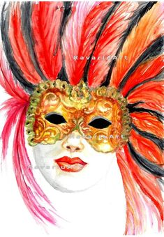 Mask Painting, Watercolour Painting, Digital Prints, Digital Art, Hidden Images, Watercolours, Wall Prints, Masquerade, Garden Art
