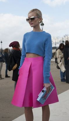 street style- I need this skirt maybe in a coral with a green mid shirt or black
