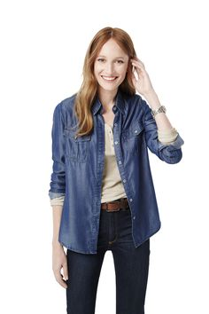 Style Staple: No closet is complete without our oh-so-soft Tencel® chambray shirt. So perfect for fall (or any season!).