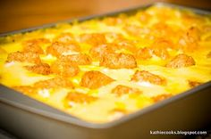 Broccoli, Cheddar, Chicken and Tater Tot Casserole - a true one dish meal -
