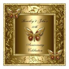 Elegant 50th Wedding Anniversary Gold Butterfly Invitation