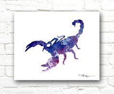Blue Scorpion Art Print Abstract Watercolor by 1GalleryAbove