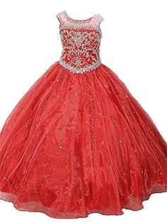 HuaMei Girls Birthday Party Ball Gown Crystals Flower Gir…
