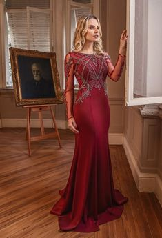 Vestido de festa com manga longa 2018 Formal Gowns, Formal Wear, Red Wedding Dresses, Prom Dresses, Trendy Dresses, Fashion Dresses, Mermaid Gown, Floral Chiffon, Beautiful Gowns