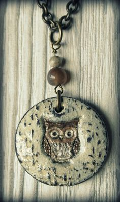 stamped, painted polymer clay owl from 3treeaccessories on Etsy