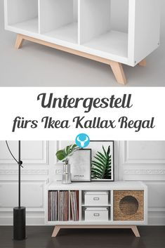 The wooden base BOKK brings your Ikea Kallax shelf back to the . - Ikea DIY - The best IKEA hacks all in one place Diy Furniture Plans, Refurbished Furniture, Retro Furniture, Ikea Furniture, Pallet Furniture, Furniture Makeover, Cool Furniture, Furniture Stores, Diy Kallax
