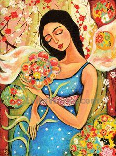 Mother child art maternity mothers love angel spiritual women motherhood art print, signed print, 8x10.5