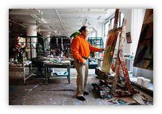 Hunt Slonem painting in his Chelsea studio, Manhattan.