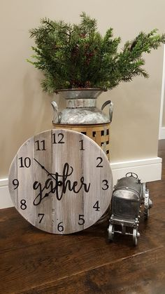 "15"" aged gray reclaimed wood clock available at my Etsy shop @denimnheels"